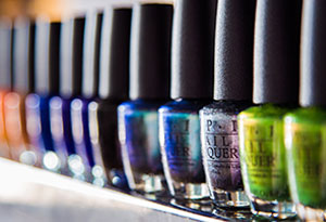 Row of Colorful Nail Polish